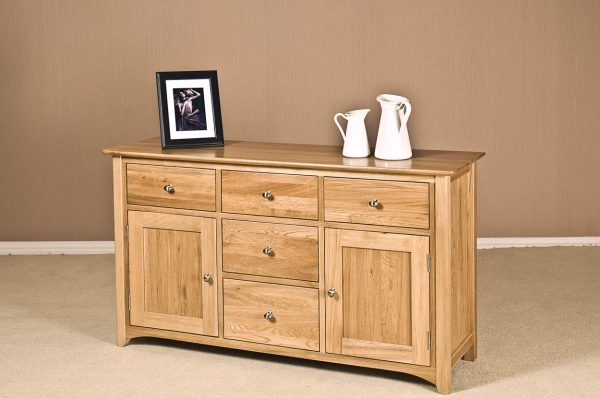 Cambridge Solid Oak Large Sideboard With 5 Drawers & 2 Doors | Fully Assembled