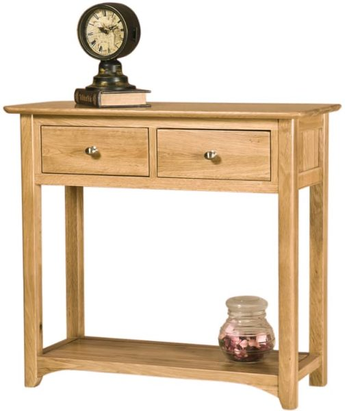 Cambridge Solid Oak Console Table with 2 Drawers & Shelf | Fully Assembled