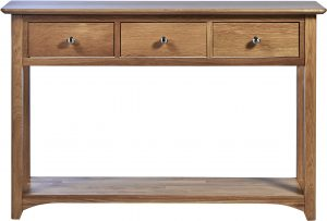 Cambridge Solid Oak Console Table with 3 Drawers & Shelf | Fully Assembled