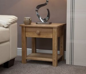 Homestyle Torino Solid Oak Lamp Table with Drawer | Fully Assembled