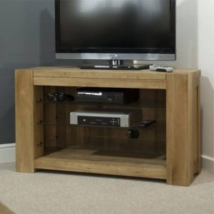 Homestyle Trend Solid Oak Corner TV Unit   Fully Assembled