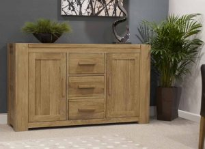 Homestyle Trend Solid Oak Large Sideboard 3 Drawer 2 Door | Fully Assembled