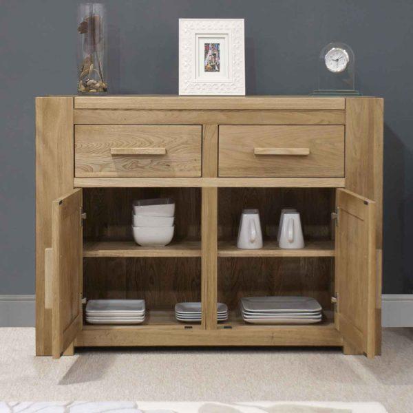 Homestyle Trend Solid Oak Medium Sideboard 2 Drawer 2 Door   Fully Assembled