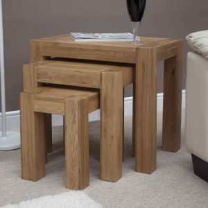 Homestyle Trend Solid Oak Nest of 3 Tables | Fully Assembled