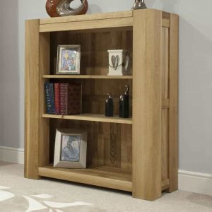 Homestyle Trend Solid Oak Small Bookcase with 2 Adjustable Shelves | Fully Assembled