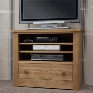 Homestyle Torino Solid Oak TV Cabinet with 2 Drawers | Fully Assembled