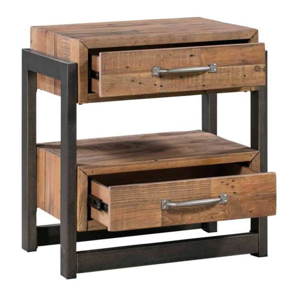 Urban Loft Nightstand / Lamp Table 2 Drawers   Fully Assembled