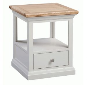 Homestyle Cotswold Grey With Oak Top 1 Drawer Lamp Table | Fully Assembled