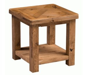 Homestyle Aztec Oak Lamp Table With Shelf