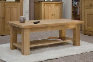 Homestyle Opus Solid Oak 4′ x 2′ Coffee Table with Shelf