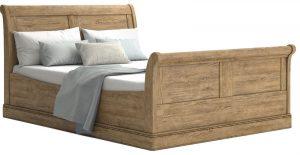 Versailles French Oak 6'0 Super King Sleigh Bedstead