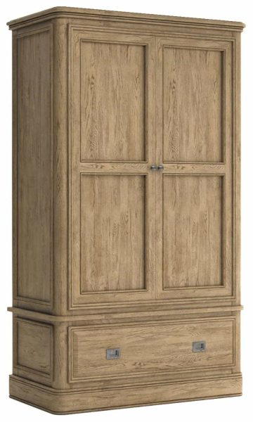 Versailles French Oak Gents Double Wardrobe with 1 Drawer