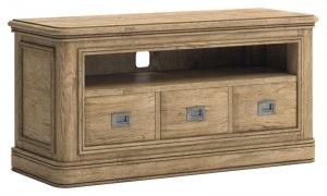 Versailles French Oak TV Cabinet with 3 Drawers | Fully Assembled