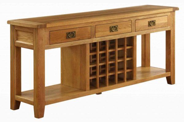 Besp-Oak Vancouver Oak 3 Drawer Wine Sideboard   Fully Assembled