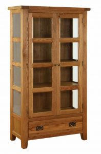 Besp-Oak Vancouver Oak Glazed 2 Door 1 Drawer Glazed Display Cabinet Unit | Fully Assembled