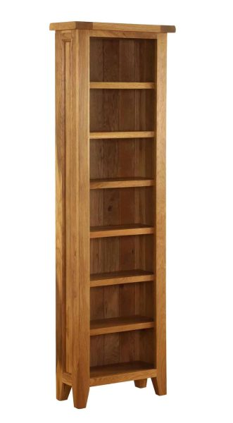 Besp-Oak Vancouver Oak CD/DVD Tall Narrow Bookcase with Adjustable Shelves   Fully Assembled