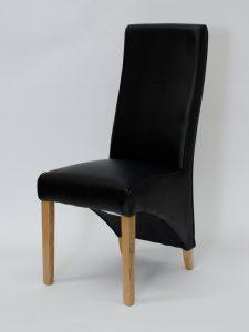 Wave Noir Matt Leather Dining Chair (Pair)