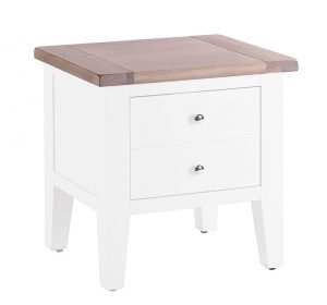 Besp-Oak Vancouver Chalked Oak & Pure White 1 Drawer Lamp Table