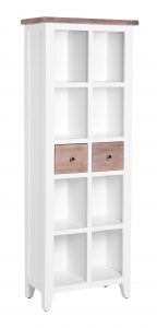 Besp-Oak Vancouver Chalked Oak & Pure White 2 Drawer Bookcase