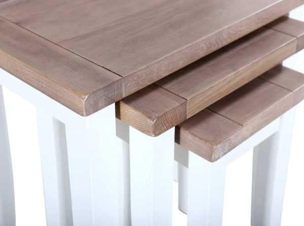 Besp-Oak Vancouver Chalked Oak & Pure White Nest of 3 Tables
