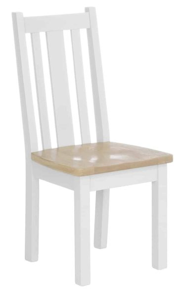 Besp-Oak Vancouver Chalked Oak & Pure White Vertical Slats Dining Chair with Timber Seat (Pair)