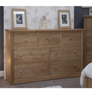 Homestyle Torino Solid Oak Deep/Wide 7 Drawer Chest | Fully Assembled
