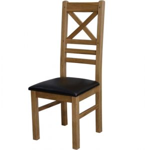 Homestyle Deluxe Solid Oak Crossback Dining Chair (Pair) | Fully Assembled