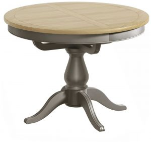 Classic Harmony Painted Pewter Single Pedestal Extending Dining Table