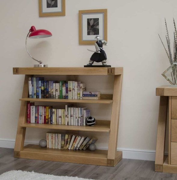 Homestyle Z Solid Oak Small Bookcase with 2 Shelves | Fully Assembled