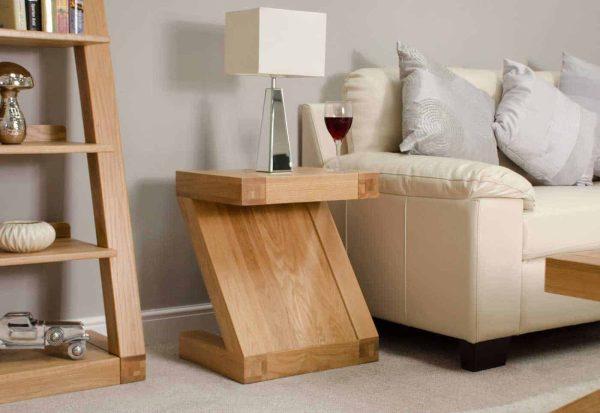 Homestyle Z Solid Oak Range Lamp Table | Fully Assembled