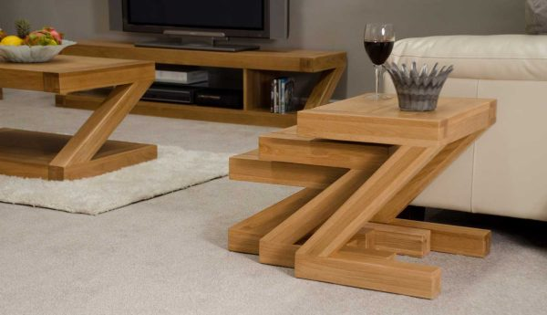 Homestyle Z Solid Oak Nest of Tables   Fully Assembled