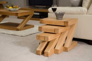 Homestyle Z Solid Oak Nest of Tables | Fully Assembled