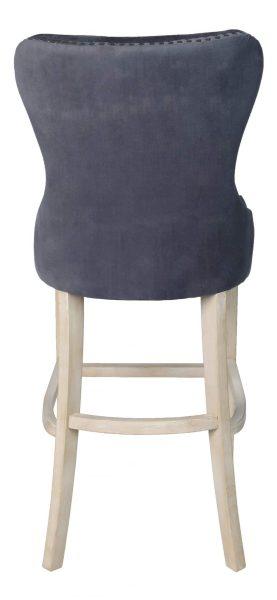 Besp-Oak Grey Velvet Bar Stool with Studded Detail (Pack of 2)