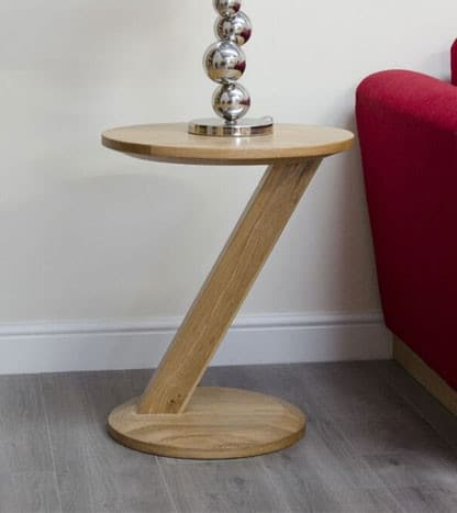 Homestyle Z Solid Oak Modern Round Lamp Table | Fully Assembled