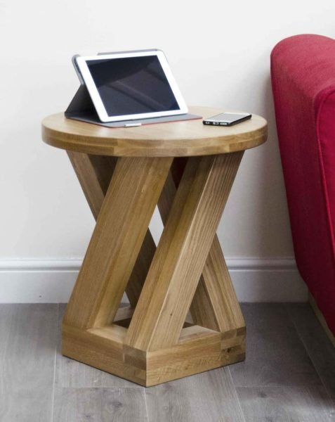 Homestyle Z Solid Oak Round 4 Leg Lamp Table | Fully Assembled
