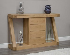 Homestyle Z Solid Oak Console Hall Table with 4 Drawers | Fully Assembled