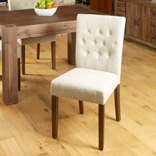 Walnut Flare Back Upholstered Dining Chair (Pack of Two)
