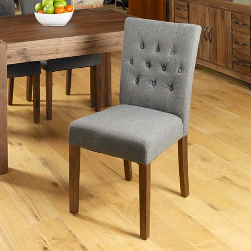 Walnut Flare Back Slate Upholstered Dining Chair (Pack of Two)