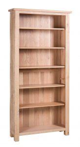 Besp-Oak Vancouver Sawn White Wash Oak Lareg Tall Bookcase with 6 Adjustable Shelves | Fully Assembled