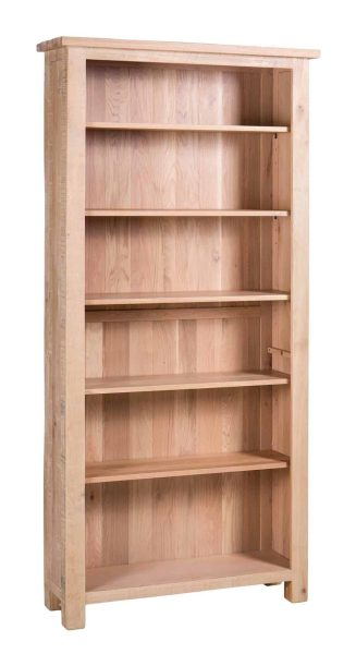 Besp-Oak Vancouver Sawn White Wash Oak Large Tall Bookcase with 6 Adjustable Shelves | Fully Assembled