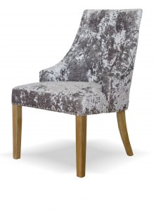 Bergen Silver Deep Crushed Velvet Button Back Dining Chair (Pair)