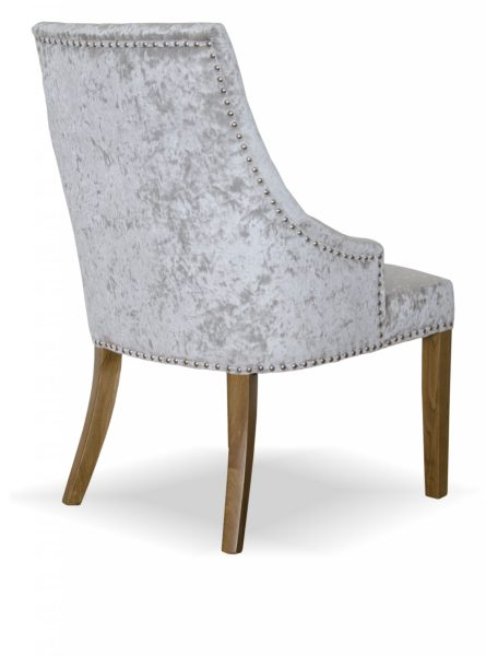 Bergen Silver Crushed Velvet Button Back Dining Chair (Pair)