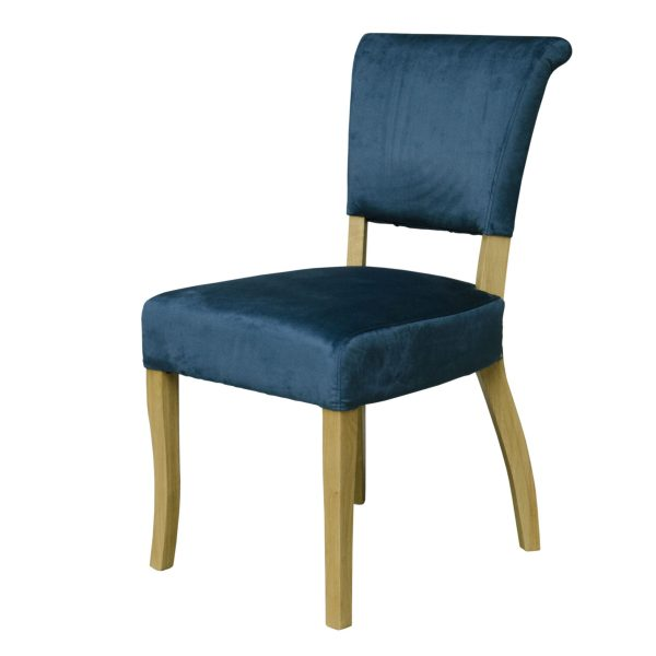Capri Dining Chair Blue Velvet (Pair)