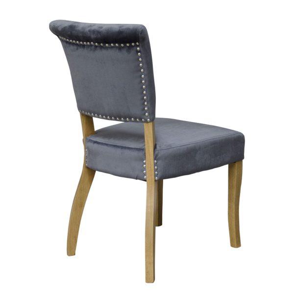 Capri Dining Chair Grey Velvet (Pair)
