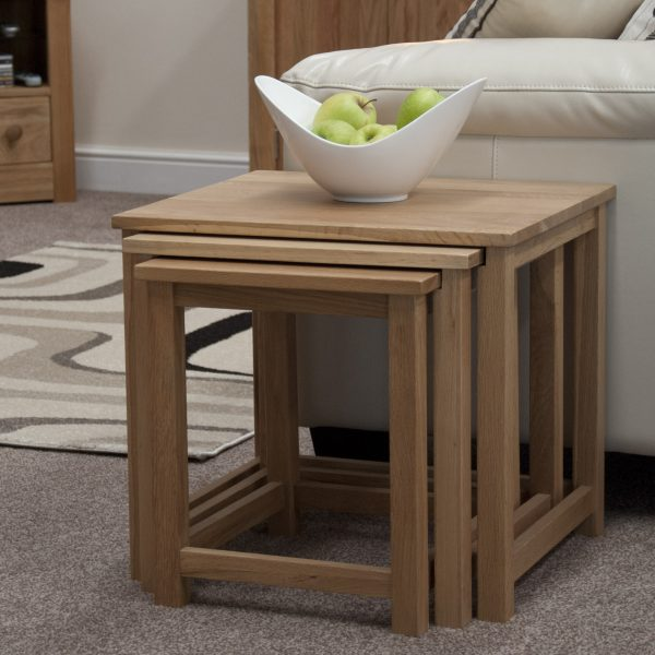 Homestyle Opus Oak Lyon Triple Nest Of Tables | Fully Assembled