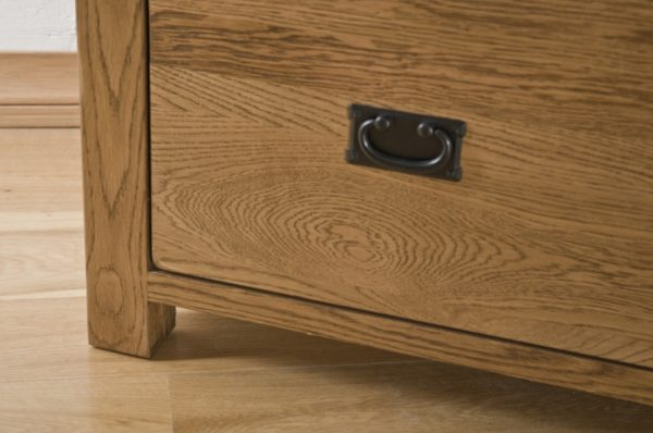 Country Rustic Oak Triple Wardrobe with Drawers