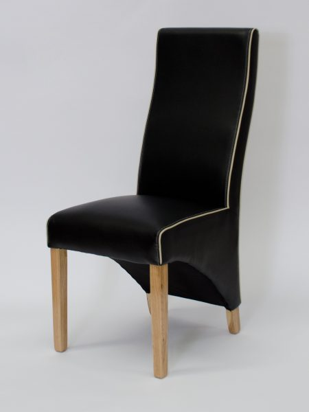 Wave Noir Matt Black Leather Dining Chair with Ivory Piping (Pair)