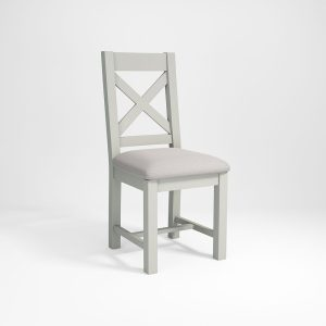 Hampshire Light Grey With Chalked Oak Tops Cross Back Dining Chair with cream linen seat pad (Pack of 2)