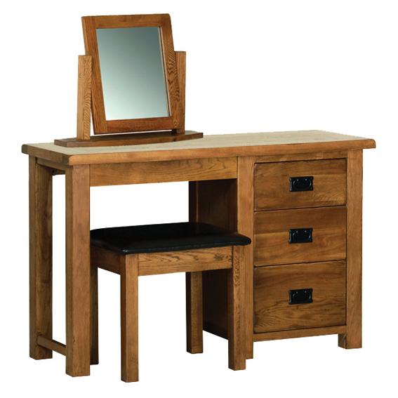 Devonshire Rustic Oak Single Pedestal Dressing Table (Only)