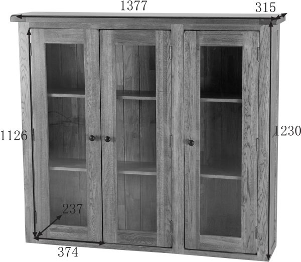 Country Rustic Large Glass Door Dresser (Top Only) | Fully Assembled